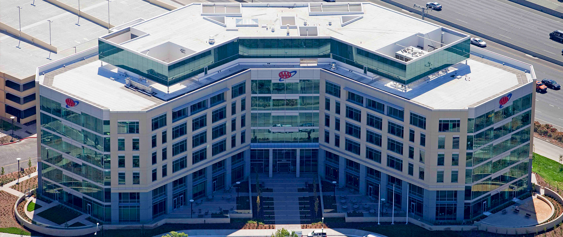 Aerial view of completed LEED Gold certified commercial office headquarters
