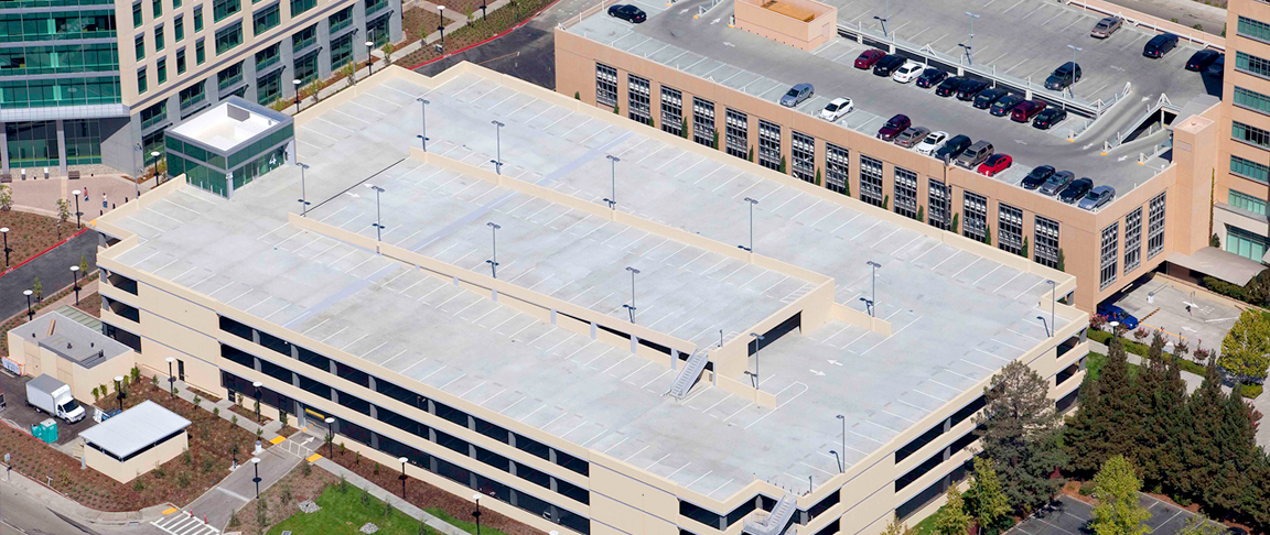 Aerial exterior view of commercial office parking structure