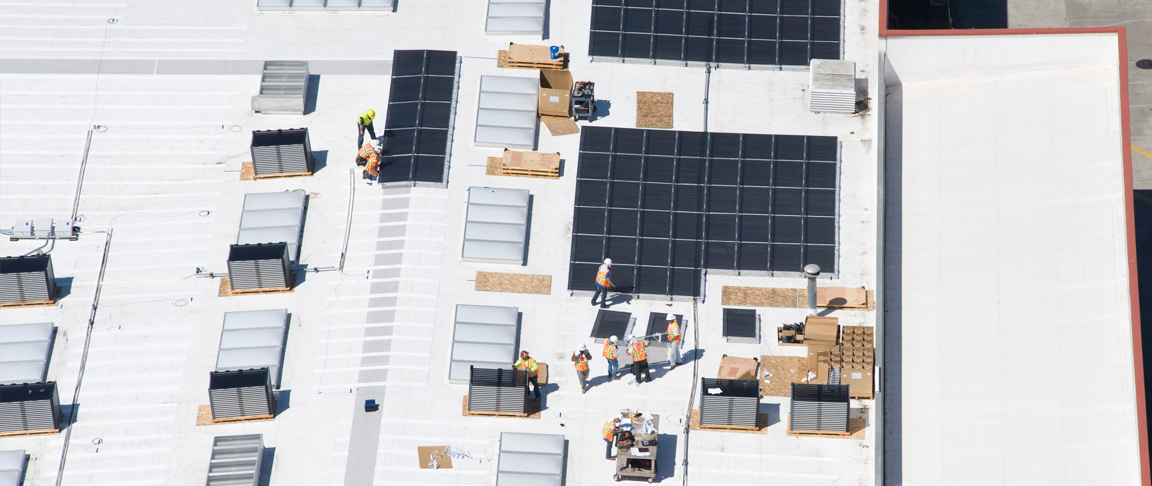 Aerial view of solar PV installation on AC Transit's Maintenance and Operations Building
