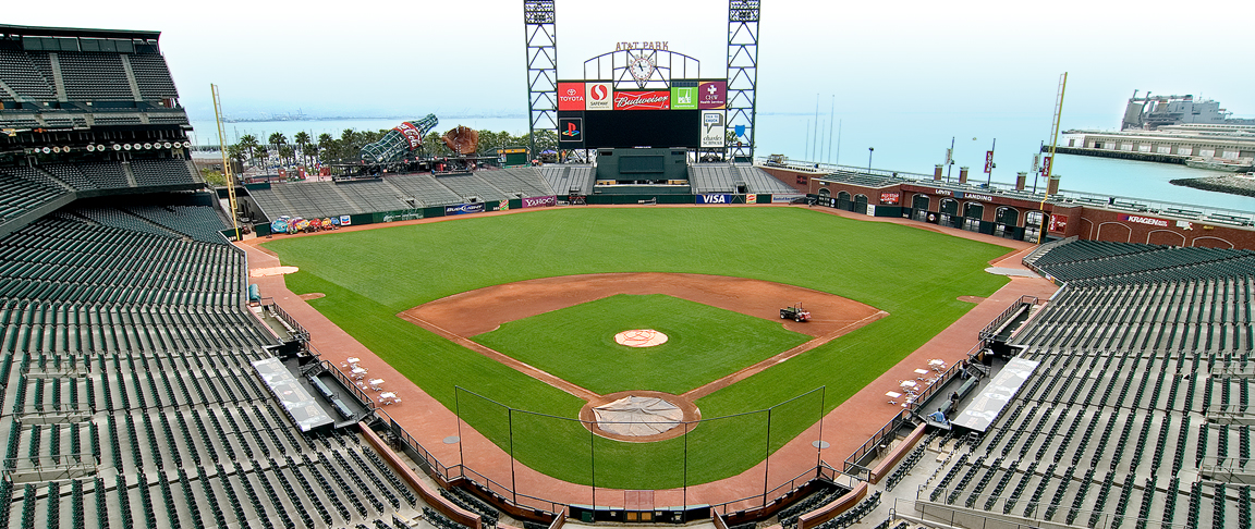 Overview of the venue featuring solar panels on the infamous AT&T Park scoreboard