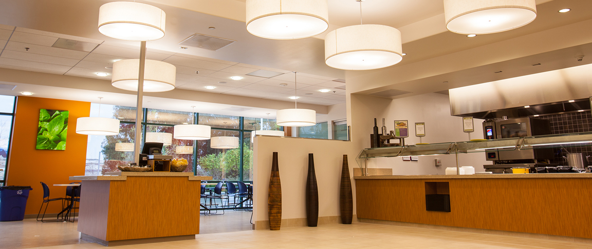 High-end lighting fixtures in commercial office café