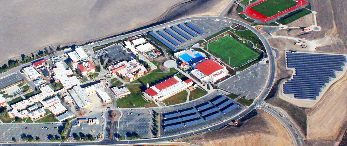Aerial view of education campus's solar PV system