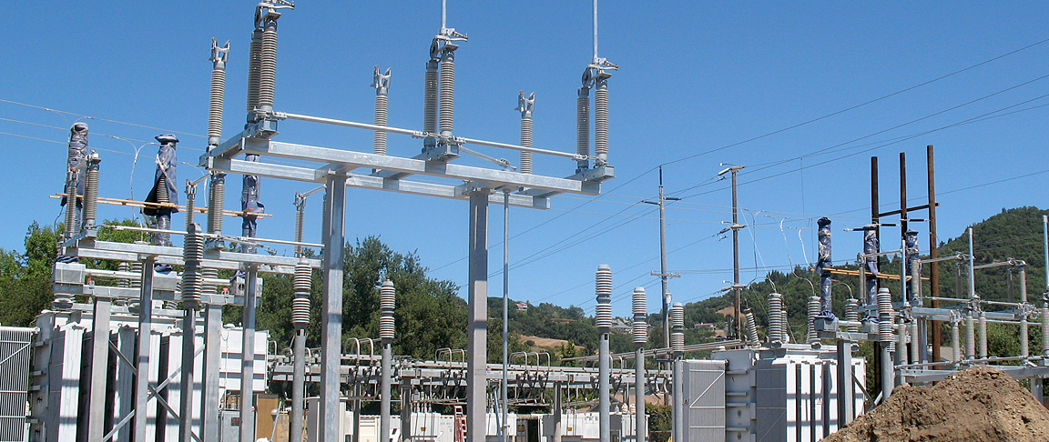 View of utility transmission, distribution and substations