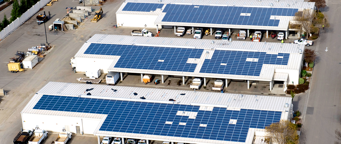 Aerial view of four-building solar PV project for the City of Pleasanton