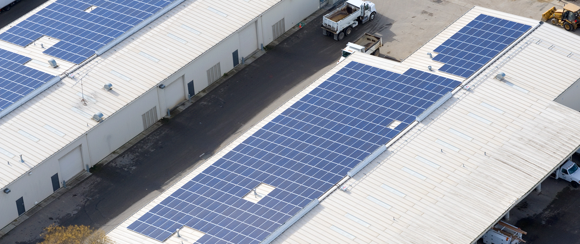 Aerial view of rooftop-mount solar system for the City of Pleasanton