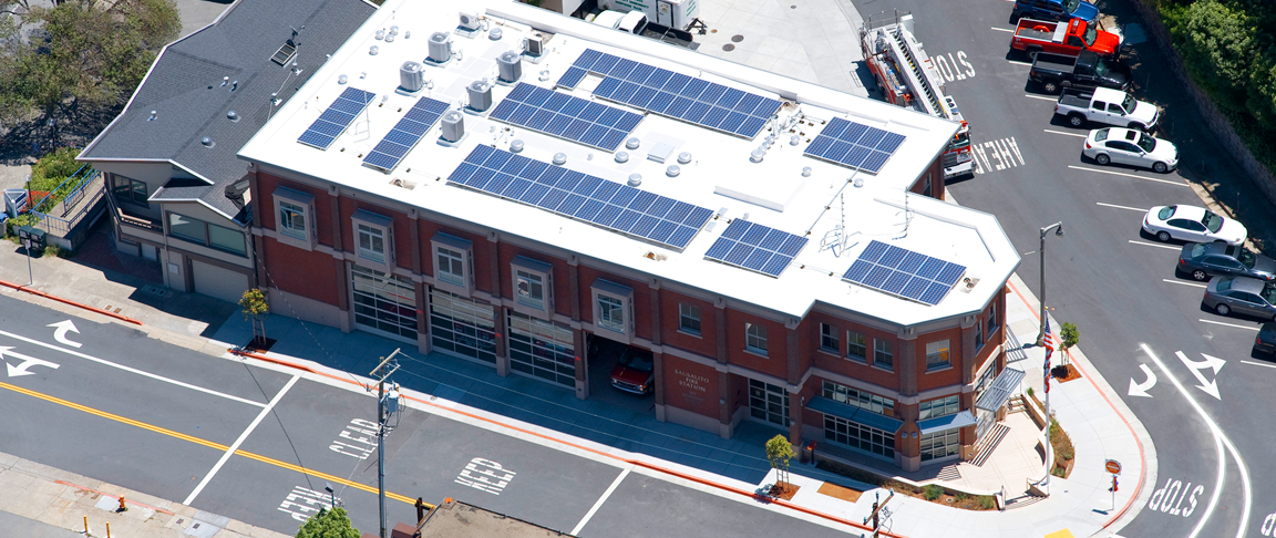 Aerial view of completed fire department solar PV system installation
