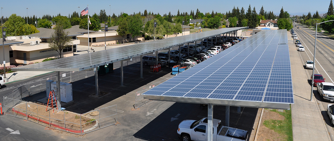 Side view of the completed canopy-based solar PV system at Clovis Unified School District's main office
