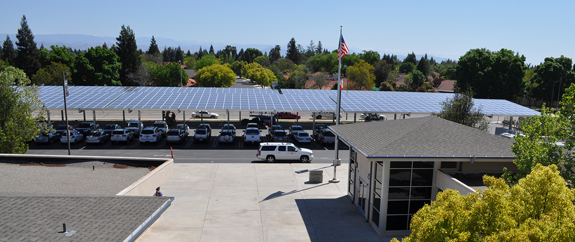 View of the completed canopy-based solar PV system at Clovis Unified School District's main office