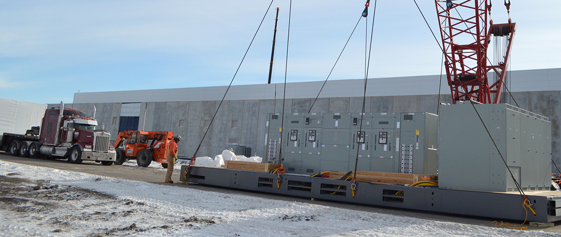 Transport of prefabricated modules from controlled manufacturing facilty to jobsite destination