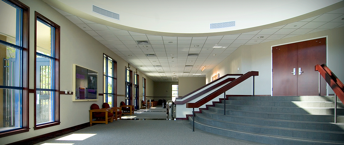 View of an internal common area on campus