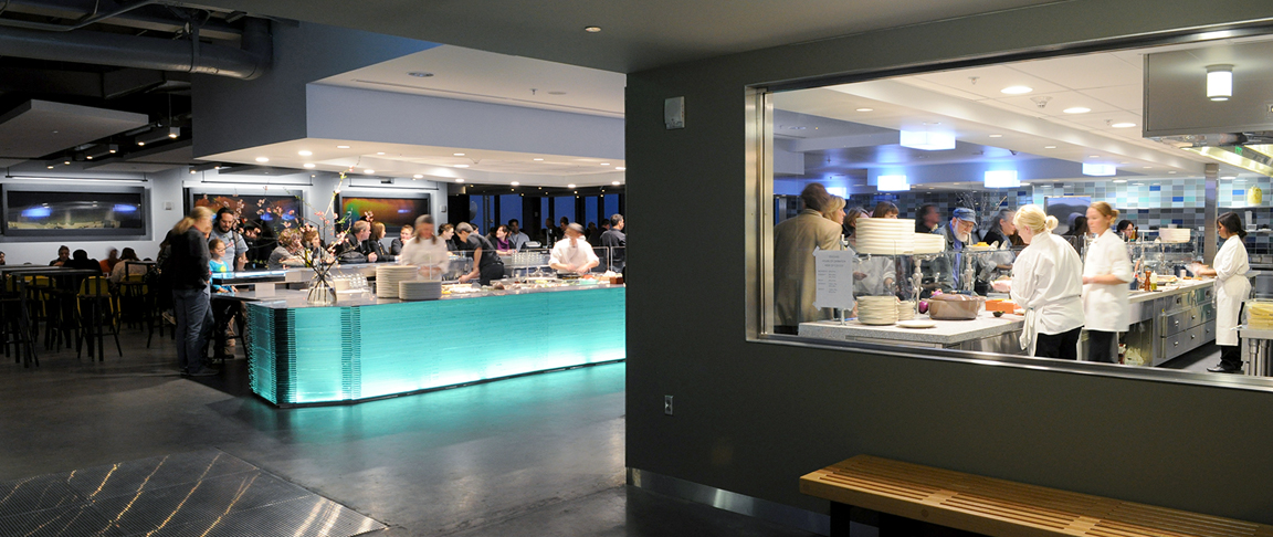 Cafe dining area highlights special lighting features in the museum