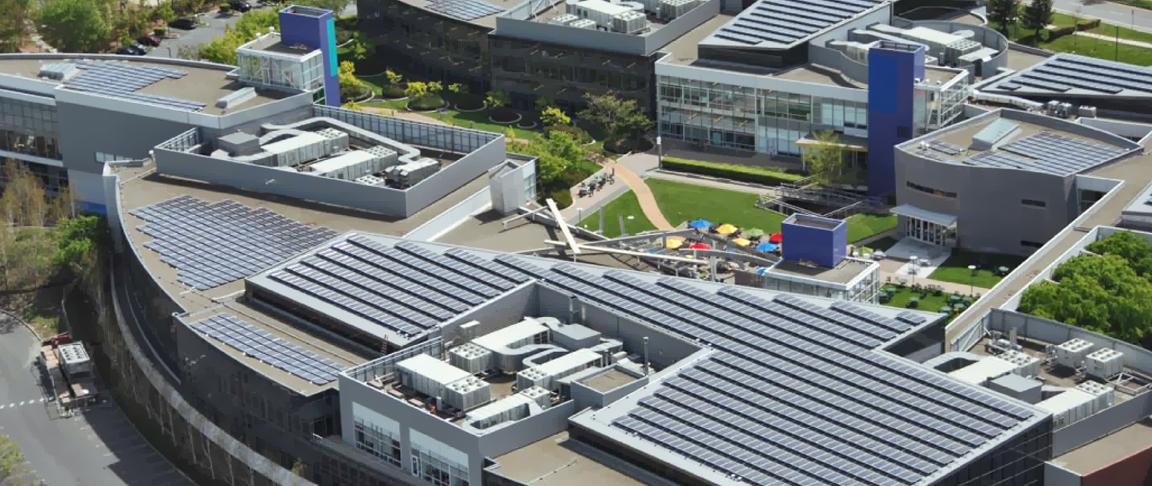Rootop solar PV system installed on Google's corporate headquarter campus in Mountain View, CA