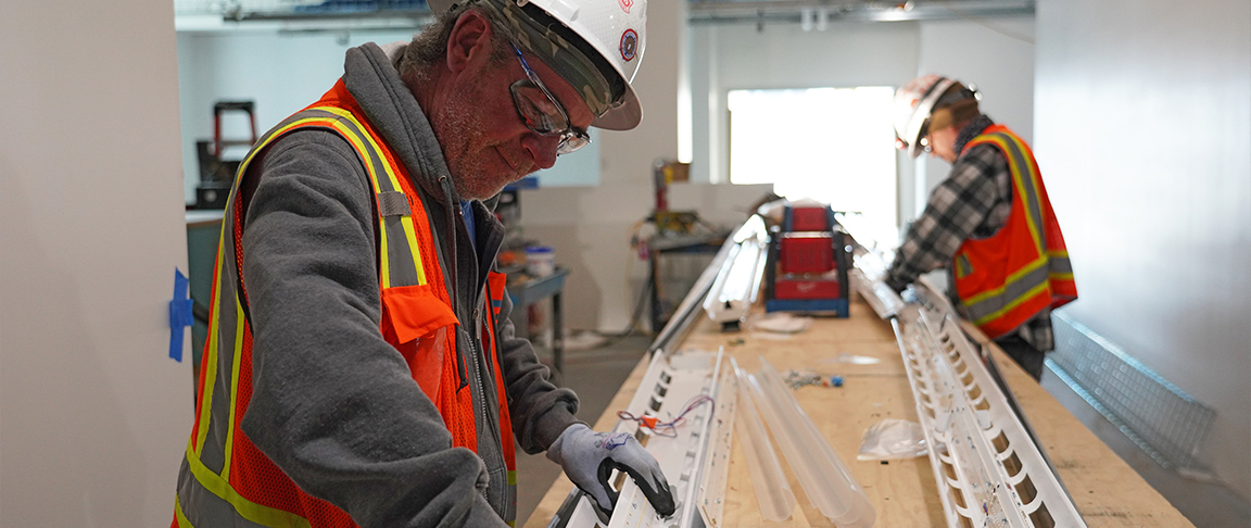 Pre-fabrication construction technique at the MPK 62 and 63 tenant improvement project