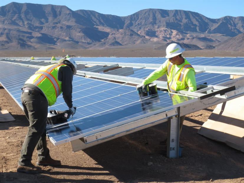Electrians install one millionth solar module at Copper Mountain in Nevada